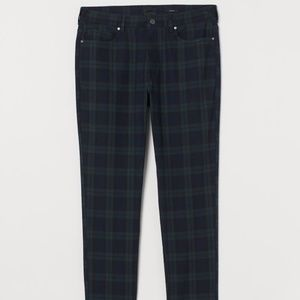 H&M Skinny Fit Twill Pants Black Green Checked 29
